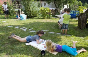 Kids were painting everywhere in the garden